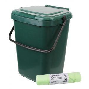 Kitchen Caddy - Green - 10L & 50 x 10L Tie Handle Bags