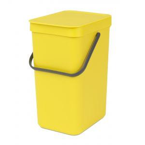 Brabantia Sort & Go Kitchen Recycling Bin - Yellow - 12L Size