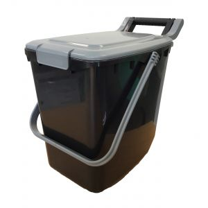 Clip Lid - Large Kerbside Compost Caddy - 23L - Black with silver lid