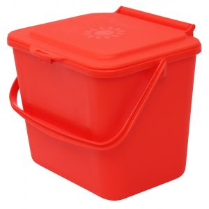 Red Small 5 Litre Plastic Food Bin/Caddy - Side View