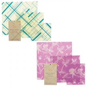 Bee's Wrap Food Covers - 2 x Sets of 3 - Geometric Teal & Clover Design