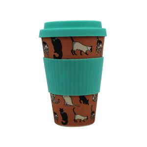 Addis Bamboo Reusable Travel Mug - Cats