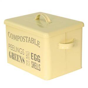 Rectangular Metal Compost Caddy - Cream