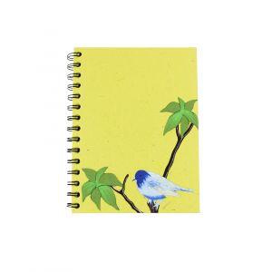 Large Spiral Notebook – Green with a Blue Bird design