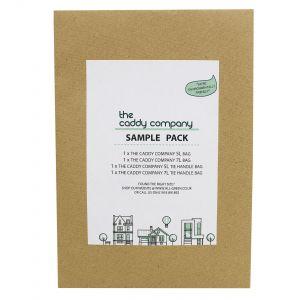 Sample Compostable Bag Pack - Caddy Company - 5L, 5L tie handle, 7L, 7L tie handle