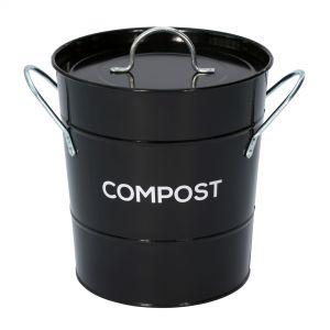 Black Metal Compost Pail