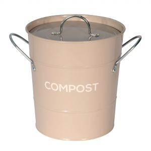 Light Brown Metal Compost Pail