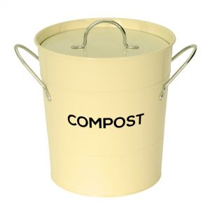 Cream Metal Compost Pail