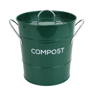 Caddy Company Metal Kitchen Compost Caddy in Dark Green - Main
