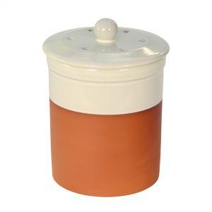 Chetnole Terracotta Compost Caddy - Cream