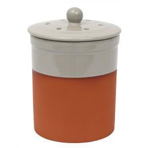 Chetnole Terracotta Ceramic Compost Bin / Food Caddy - 3 L Pale Grey Main Image