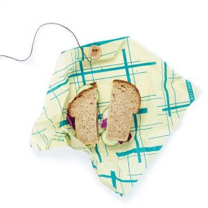 Bee's Wrap Sandwich Wrap - Geometric Teal Design