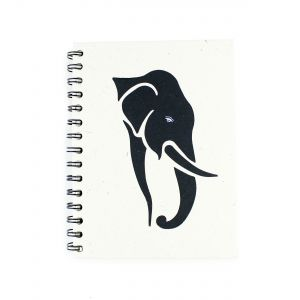 Elephant-White New Elecosy: Large Spiral Notebook - Elephant Head Silhouette