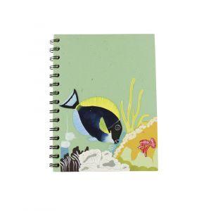 Large Spiral Notebook – Light Green with an Aquarium design