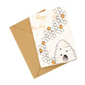 """Happy """"Bee"""" Day (Bee Design) - Wildflower Plantable Card"""