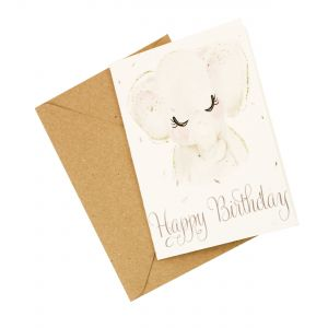 Happy Birthday (Elephant Design) - Wildflower Plantable Card
