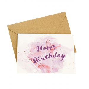 Happy Birthday (Watercolour Design) - Wildflower Plantable Card