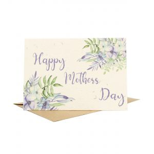 'Happy Mother's Day' Purple Flowers Design - Wildflower Plantable Card
