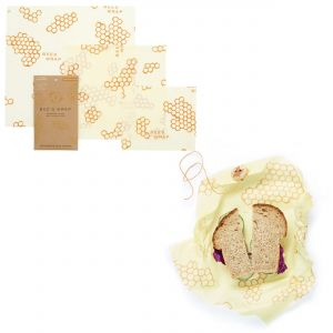 Bee's Wrap Food Covers - Set of 3 & Sandwich Wrap - Honeycomb Design