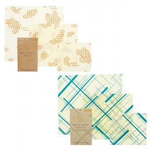 Bee's Wrap Food Covers - 2 x Sets of 3 - Honeycomb & Geometric Teal Designs
