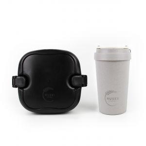 Huski Home - 400ml Travel Cup (Slate Grey) & Multi-Component Lunch Box (Obsidian Black)