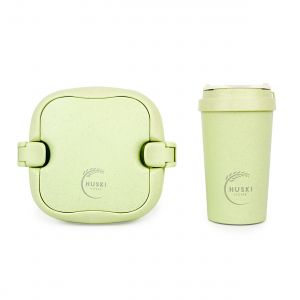 Huski Home - 400ml Travel Cup & Multi-Component Lunch Box - Pistachio Green