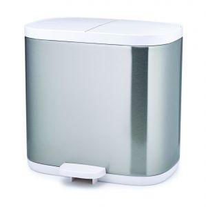 Joseph Joseph Split 6 Steel Waste & Recycling Bathroom/Household Bin - Stainless Steel & White