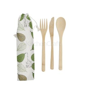 Reusable Bamboo Cutlery Set - in Fabric Pouch