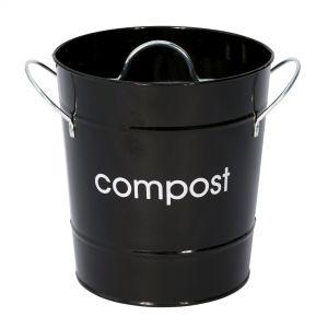 Metal Compost Pail - Black