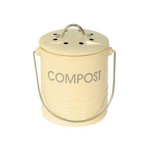 Mini Cream Metal Compost Caddy