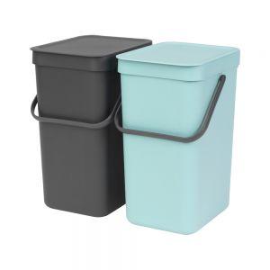 Brabantia Sort & Go Kitchen Recycling Bins Set – 12L – Mint & Grey