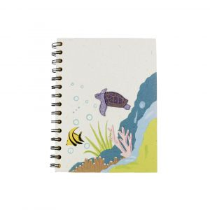 Large Spiral Notebook –  White with a Turtle design