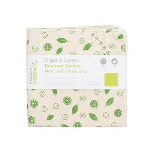 A Slice of Green - Organic Cotton UnPaper Towels 5 Pack - Mint Leaf
