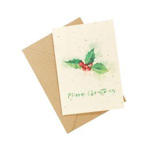 Christmas Holly & Berries (Pack of 5) - Wildflower Plantable Card