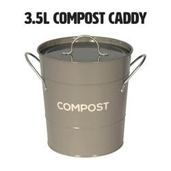 Dark grey metal food waste compost caddy